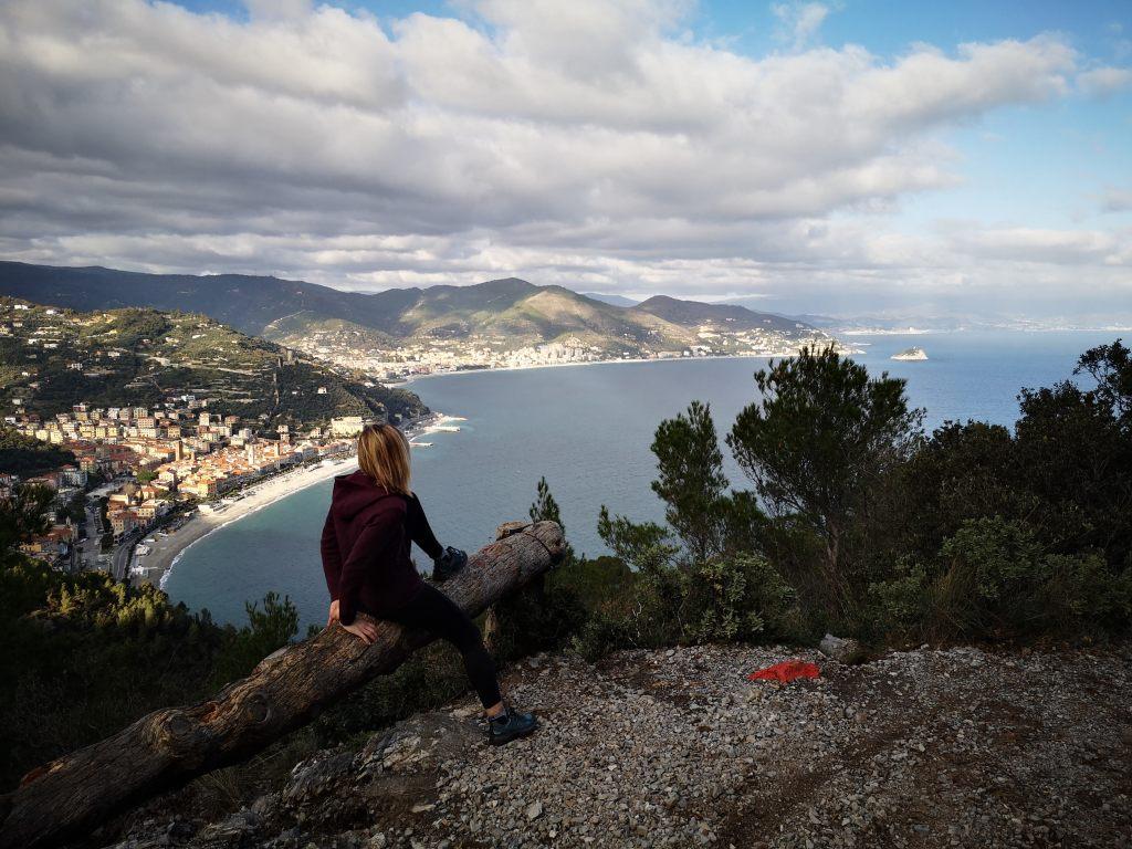 Views over Noli, Liguria in Italy on the sentiero del pellegrino path