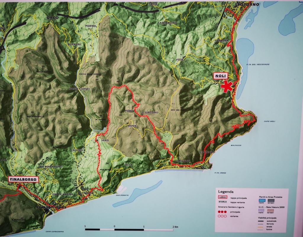 Map Sentiero del Pellegrino, Noli, Liguria