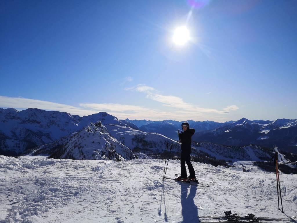 Skiing in Valmalenco, Valtellina, Italy.