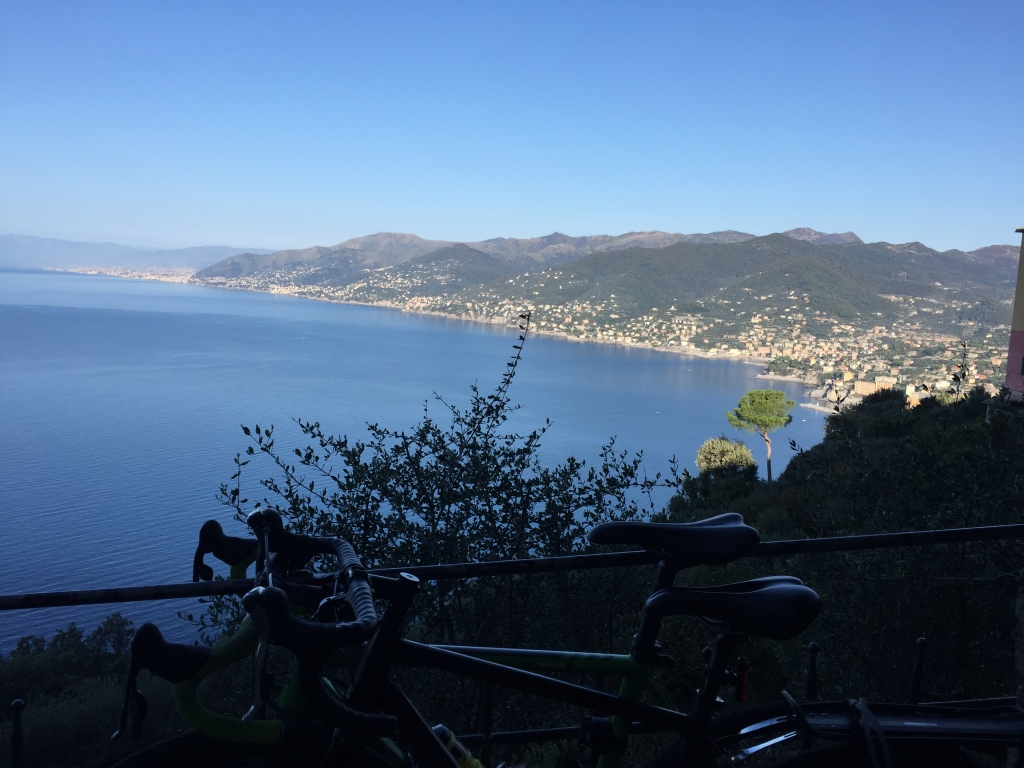Bikes and view over Golfo Paradiso and Camogli