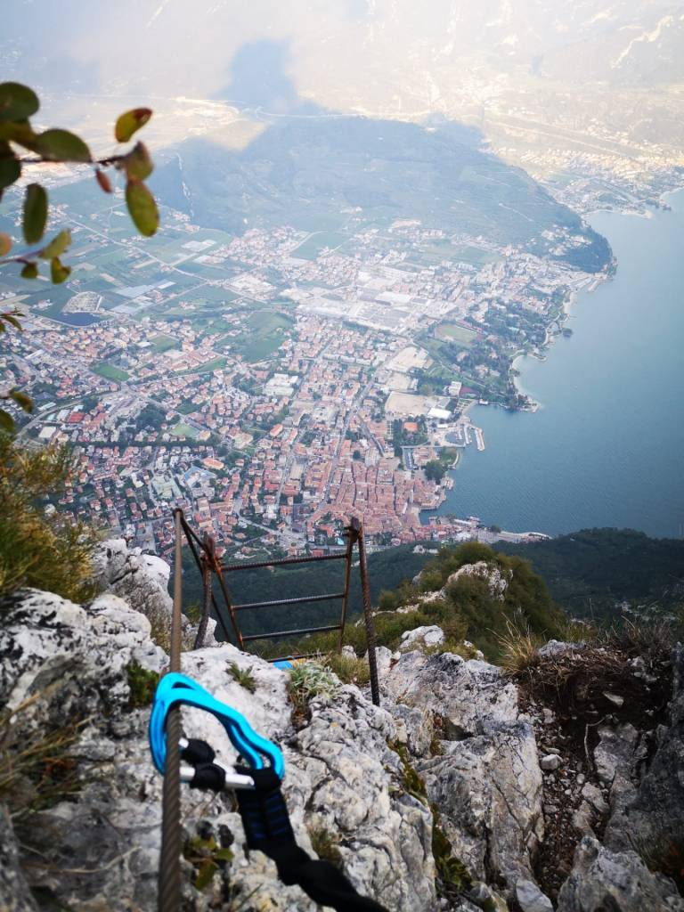 Views over lake Garda from the ladders on the via ferrata